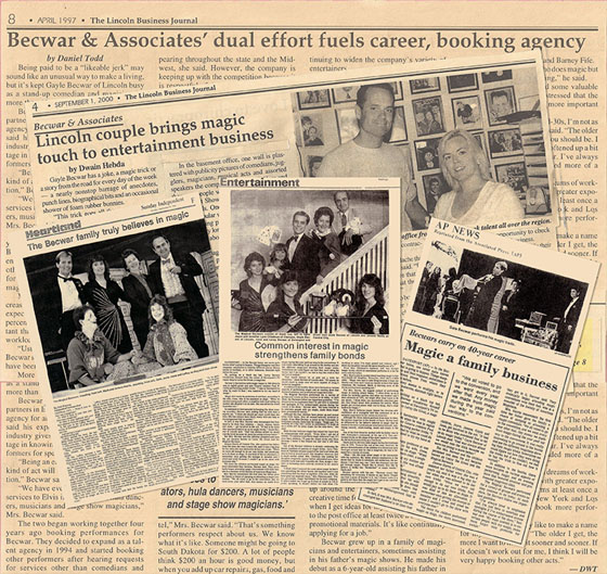 Collage of articles about Becwar & Associates Entertainment Agency